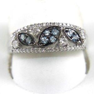 Sapphire & Diamond Leaf Ring Band 14K WG 0.44Ct